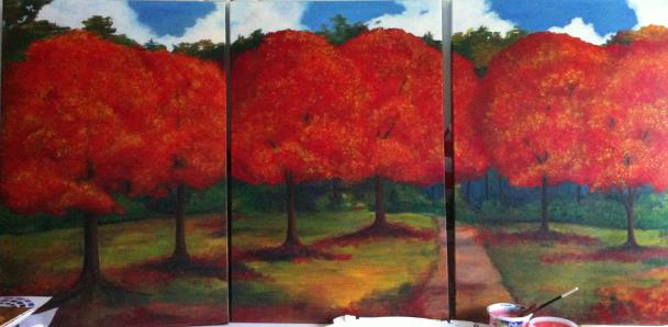 Red Forest Triptych